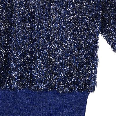 glitter fur detail knit top blue
