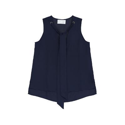 tie detail sleeveless t-shirt navy 1