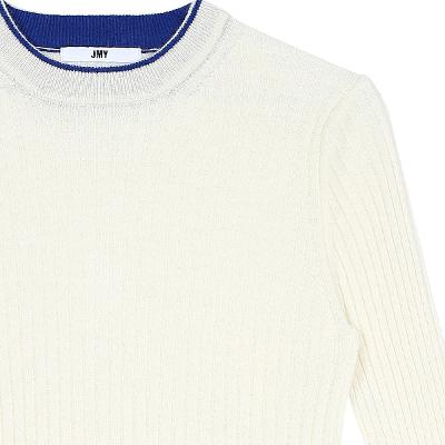 color point knit top white