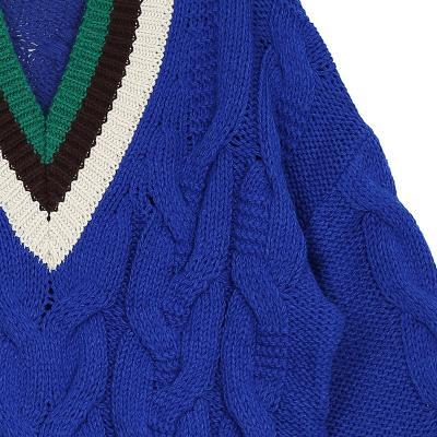 stripe point v-neck knit blue