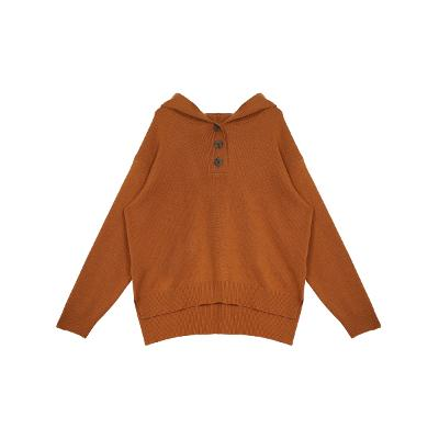 button point hood knit top brown