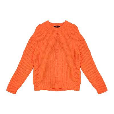 rib texture sweater orange