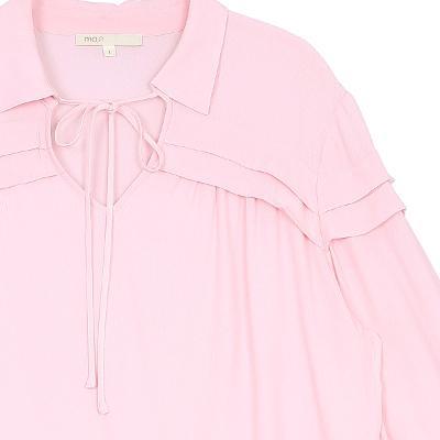 tiered detail collar shirt pink