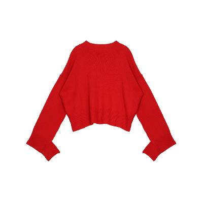 cutting detail drop shoulder sweater red 2