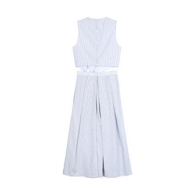 ribbon knot stripe sleeveless blouse & stripe gored wide pants blue