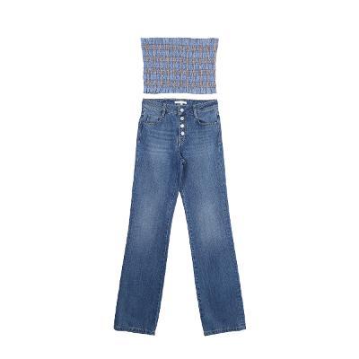 shirring bustier & button high-waist jeans