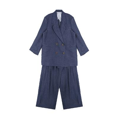 double button linen jacket & linen wide slacks navy2